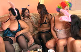 Lesbian costumed party turned to hardcore orgy